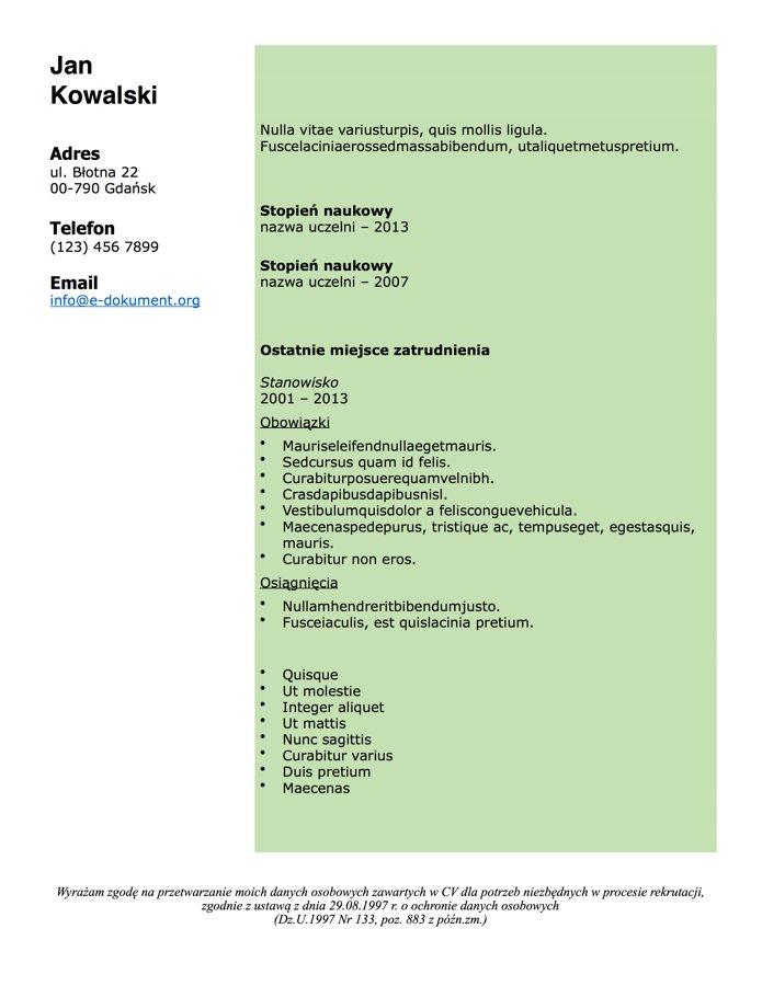 Darmowe wzory cv do pobrania i drukowania za darmo pliki doc i pdf cv chronologiczne thecheapjerseys Choice Image