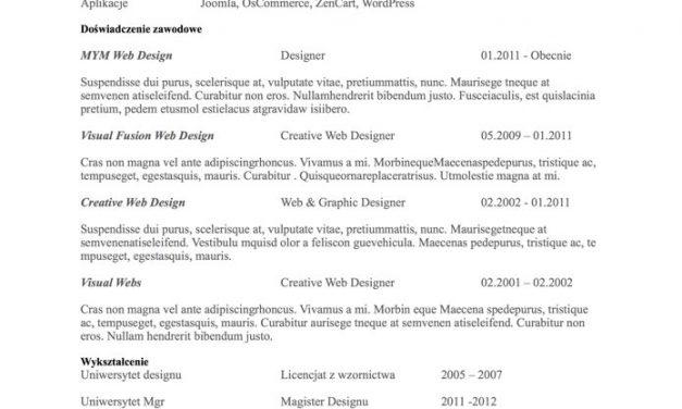CV bez zdjęcia – Szablon 3