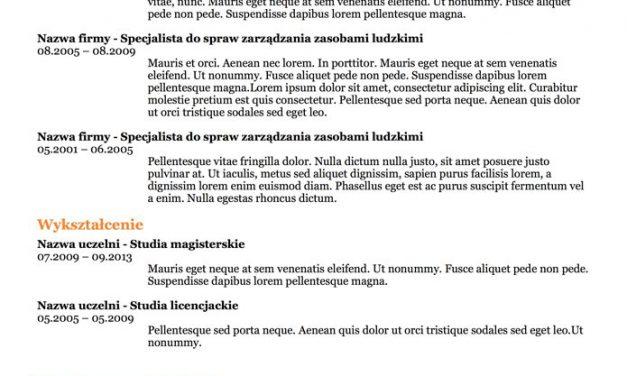 CV bez zdjęcia – Szablon 5