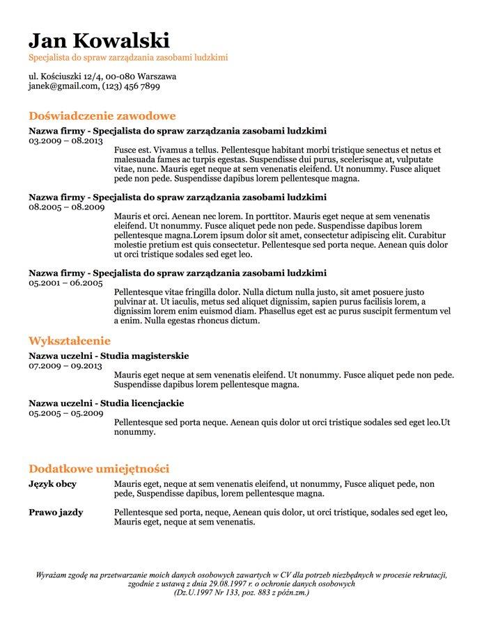 CV bez zdjęcia 5 do druku