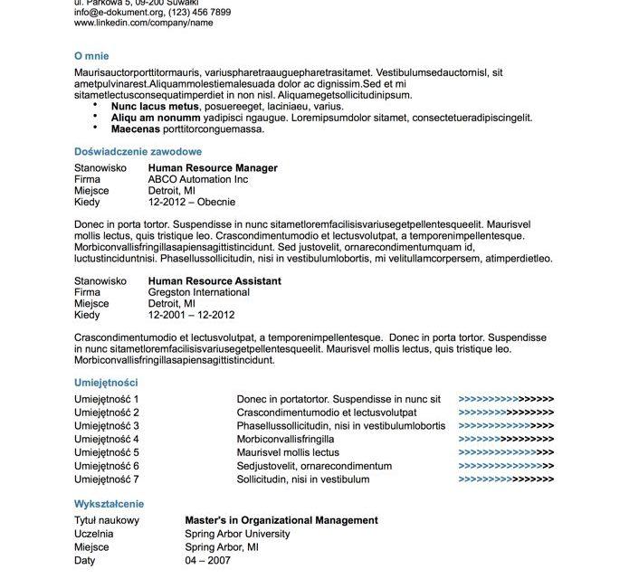 CV bez zdjęcia – Szablon 6