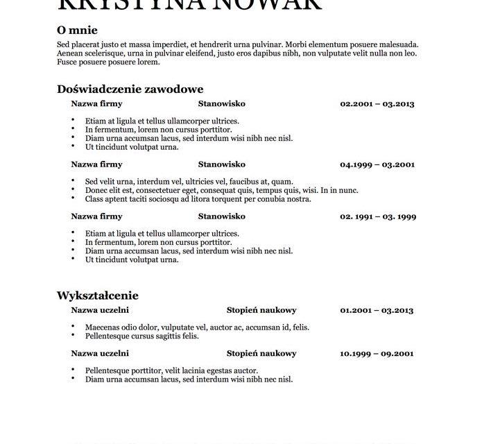 CV bez zdjęcia – Szablon 7