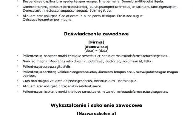 CV chronologiczne – Szablon 6
