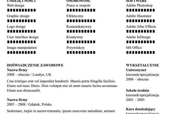 CV funkcjonalne – Szablon 1