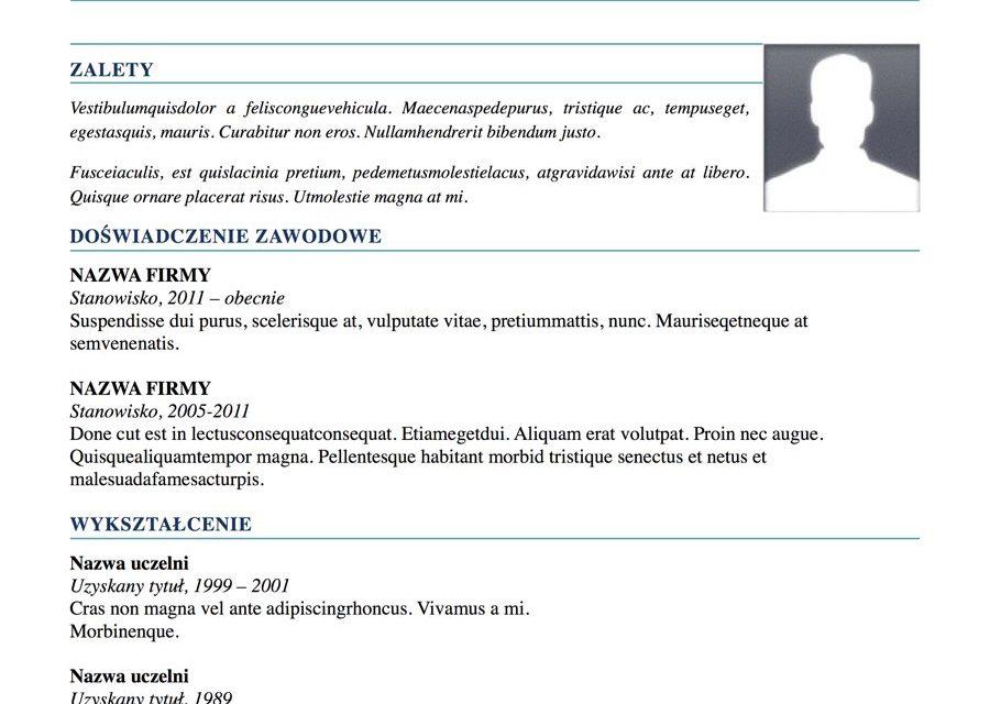 CV nowoczesne – Szablon 1