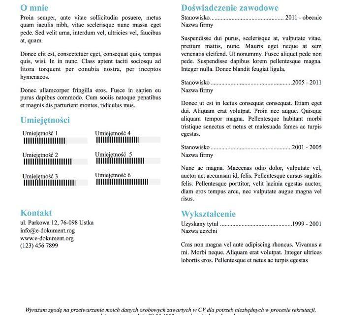 CV nowoczesne – Szablon 2