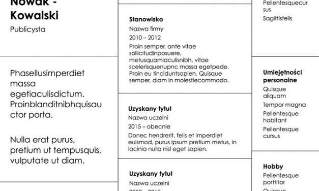CV nowoczesne – Szablon 6