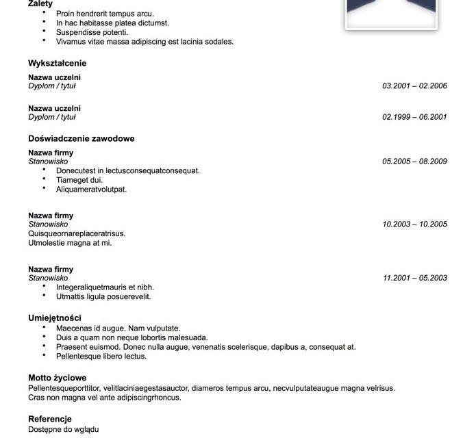 CV nowoczesne – Szablon 8
